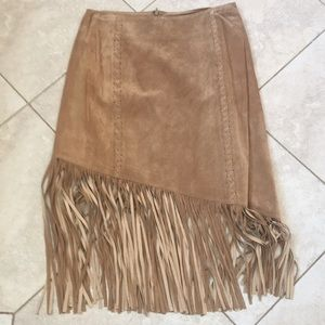 Beautiful suede skirt with fringe.